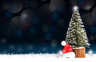 decorative Christmas tree on the dark blue background
