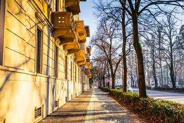 Quiet street with trees in Parma, Emilia-Romagna, Italy.