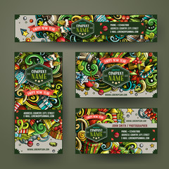 Cartoon doodles New Year holidays banners corporate Identity