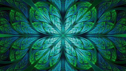 Abstract fractal background, blue-green mosaic pattern with curved stripes Wall mural