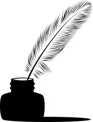 Feather pen into the inkwell