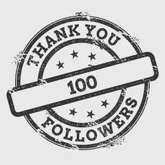 Thank you 100 followers rubber stamp isolated on white background. Grunge round seal with text, ink texture and splatter and blots, vector illustration.
