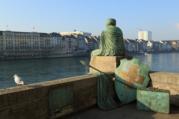 Helvetia statue on the Rhine in Basel