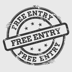 Free entry rubber stamp isolated on white background. Grunge round seal with text, ink texture and splatter and blots, vector illustration.