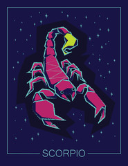 Zodiac sign Scorpio on night sky background.