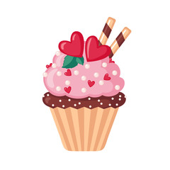 Valentine cupcake icon with hearts.