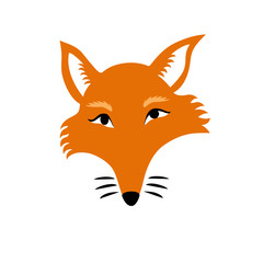 Vector isolated illustration of a sly fox head made in cartoon flat style. Head, eyes, nose, whiskers, red fur, ears, muzzle