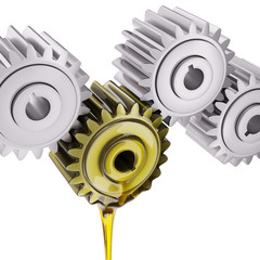 Irregularly Oiled Gears Teamwork Concept 3d Illustration