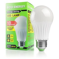 Energy savings modern LED lamp in packing box