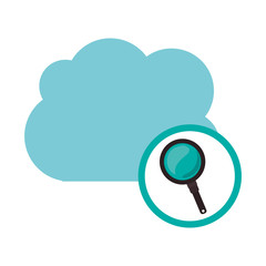 Lupe and cloud computing icon. Storage technology and virtual theme. Isolated design. Vector illustration
