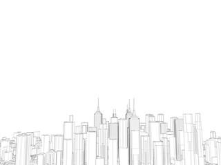 City. Isolated on white background. Sketch illustration.