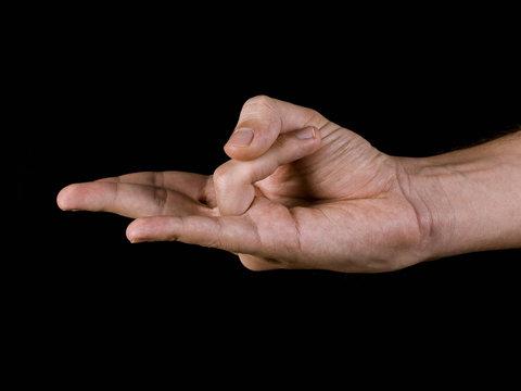 Close-up of a hand, practicing yoga, Surya mudra