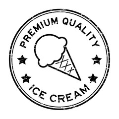 Grunge black premium quality ice cream round rubber stamp