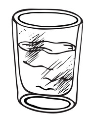 A glass of water hand drawn