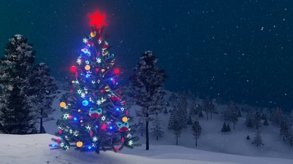 Wall Mural - Outdoor Christmas tree decorated with glowing holiday toys among snow covered fir forest at winter night with slight snowfall. Decorative 3D animation rendered in 4K