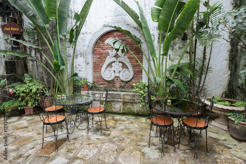 Set of a Coffee house in Casa Manila at the Intramuros, the old ...