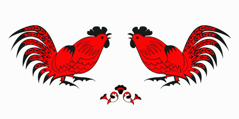 Fighting of red roosters on a white background