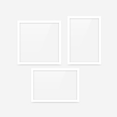 Clean white minimalistic vector photo frames blank mockups set