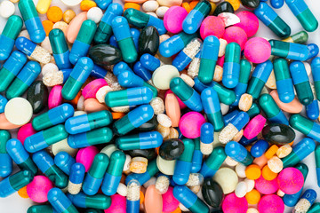 Medication with different types and colours. Tablets and pils
