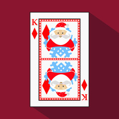 playing card. the icon picture is easy. DIAMONT JACK JOKER NEW YEAR ELF. CHRISTMAS SUBJECT. about dark region boundary.