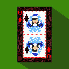 playing card. the icon picture is easy. DIAMONT JACK JOKER NEW YEAR ELF. CHRISTMAS SUBJECT. about dark region boundary. on green background.