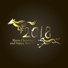 Merry Christmas and Happy New Year 2018 dog