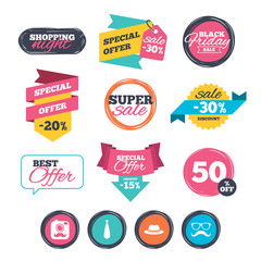 Sale stickers, online shopping. Hipster photo camera with mustache icon. Glasses and tie symbols. Classic hat headdress sign. Website badges. Black friday. Vector