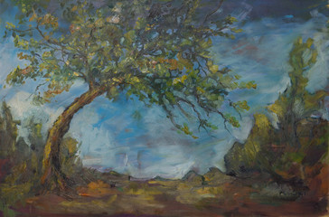 Mine pear tree / Dark and natural mixture of colors painting, oil on canvas, 60x80cm, Teresa Murányi colorist, modern, expressionist and abstract painter works
