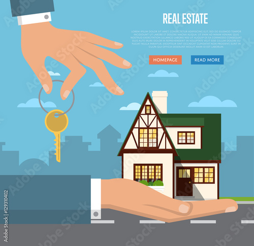 Real Estate Agent With House Model And Key Vector