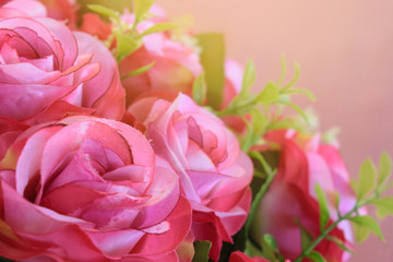 a pink rose bouquet with sun rays in a special day. valentine or wedding day.
