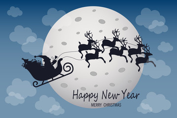 Santa Claus is flying in a sleigh with reindeer on moon background. Perfect for your greeting cards