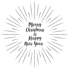 Merry Christmas and Happy New Year with sun rays linear background