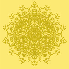 Mandala Isolated on Yellow Background. Round Ornament