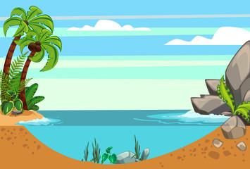 Cartoon seascape summer