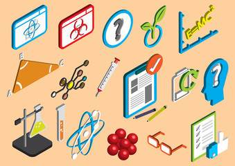illustration of info graphic science icons set concept in isometric 3d graphic