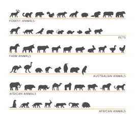 Vector set of silhouettes forest and farm animals.