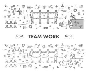Line design concept web banner for team work