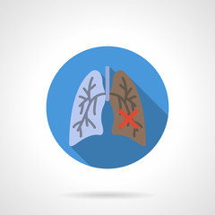 Normal and damaged lungs flat round vector icon