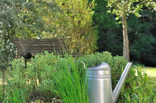 arrosoir dans herbes aromatiques du jardin photo libre de droits sur la banque d 39 images. Black Bedroom Furniture Sets. Home Design Ideas