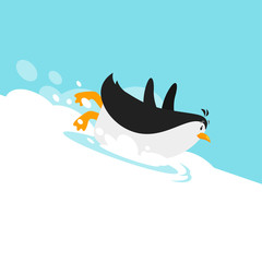 Vector flat style illustration of penguin sliding on the glacier.
