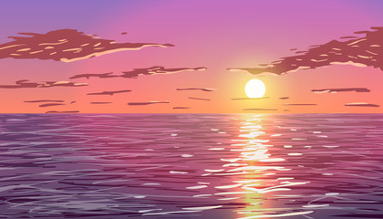 Sunset in the ocean.