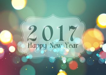 Happy New Year 2017 on Bokeh Light Vintage Background