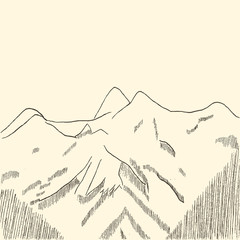 Mountains sketch hand drawn. Vector Illustration.
