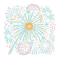 Bursting fireworks  and stars.