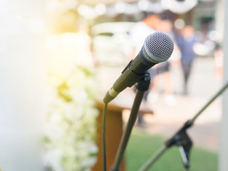 Microphone on the stand at the wedding.