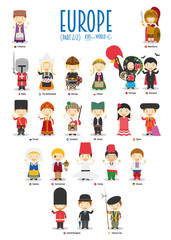 Kids and nationalities of the world vector: Europe Set 2 of 2. Set of 22 characters dressed in different national costumes.