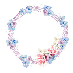 Beautiful watercolor wreath with eucalyptus branches and hydrangea, rosres flowers. Illustrations.