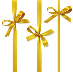 Vector set of decorative golden bows with vertical ribbon isolated on white. Yellow bow for gift decor