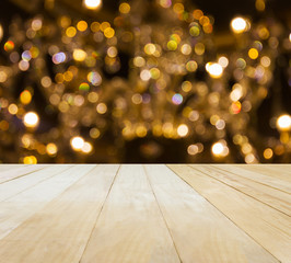 Jointed wood table top on Xmas bokeh light background