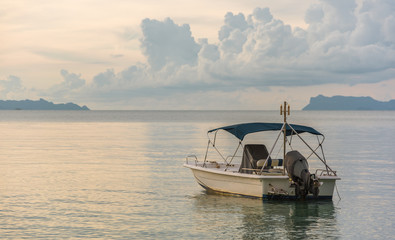 Beautiful beach with motor boat at samui island. Thailand